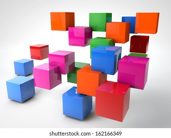 colorful cubes ordered randomly