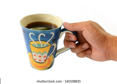 Colorful cup of coffee in hand bisolated on white background