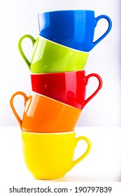 colorful cup shooting in studio