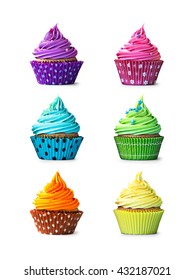 Colorful cupcakes isolated on a white background