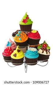 Colorful cupcakes on a cakestand