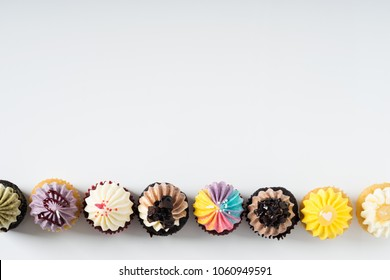 colorful cupcakes, top view