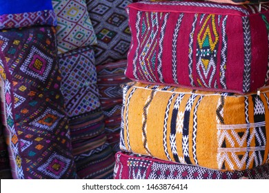 Colorful cushions in the medina market of Marrakech,  Morocco, Africa