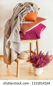 colorful cushions throw cozy home autumn mood flower