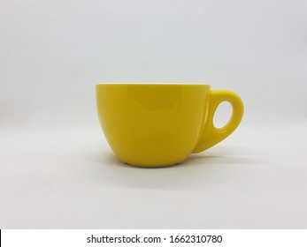Colorful Cute Beautiful Luxury Yellow Tea and Coffee Porcelain Cup Set Design for Kitchen Utensils in White Isolated Background