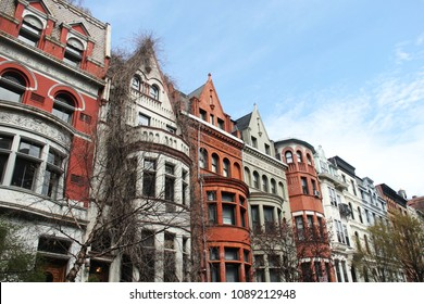 Colorful, cute row of townhouses on the Upper West Side of Manhattan, NYC