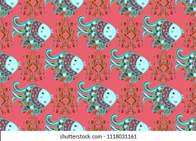 Colorful cute texture fish pattern. Fishe on pink, blue and neutral colord. Seamless colorful background. Raster illustration.