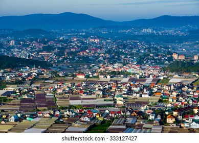 Colorful Dalat city from high view in early morning