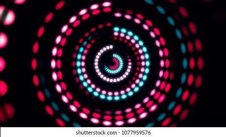Colorful dance floor with several shining. Sound waves, Dance of lines and light. Rainbow spectrum of colors. Disco dancing and electronic music background. Circle audio equalizer background with