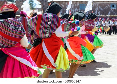 colorful dance in Peru on market on island in Lake Titicaca