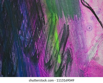 Colorful dark slate blue, dim gray and orchid stripes on canvas, textile, paper. Hand drawn brush smears, drips and strokes of oil or acrylic paint. Modern art fragment.