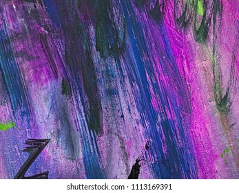 Colorful dark slate blue, orchid and slate gray stripes on canvas, textile, paper. Hand drawn brush smears, drips and strokes of oil or acrylic paint. Modern art fragment.