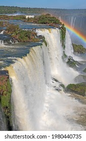 Colorful Day on the Brink of a Waterfall in Iguazu Falls National Park in Brazil