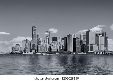 colorful daytime panorama view of the New York City Manhattan