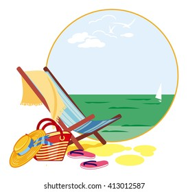 Colorful deckchair on the sea shore. Raster clip art.