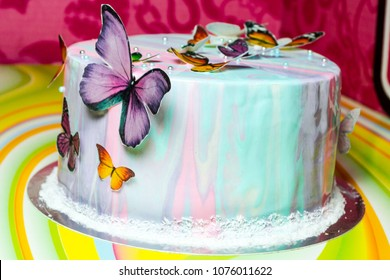 Colorful Decorated Cake With Sweet Butterflies
