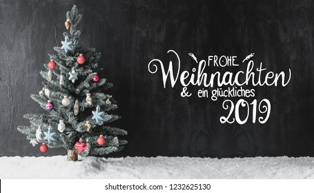 Colorful Decorated Tree, Calligraphy Glueckliches 2019 Means Happy 2019, Snow