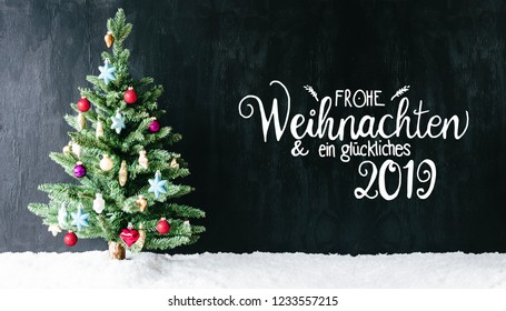 Colorful Decorated Tree, Calligraphy Glueckliches 2019 Means Happy 2019