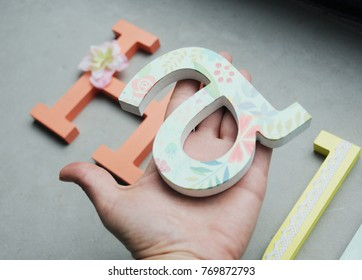 Colorful decorated wooden letter for nursery room, Decoupage and painted handmade letters for decoration, Wall letters, Door letters, DYI, Hand holding letter