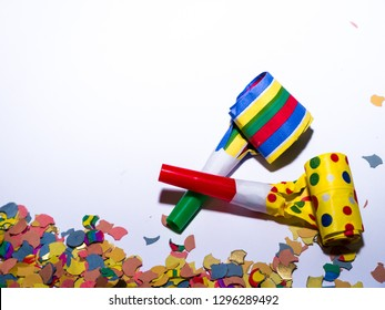 Colorful Decoration for Carnival in Cologne, Germany. Confetti and Klaxons