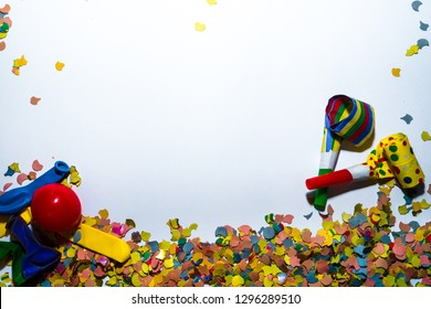 Colorful Decoration for Carnival in Cologne, Germany. Confetti, Klaxons and Red Nose