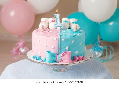 Cool Colorful Decoration First Year Birthday Cake Stock Photo Edit Now Personalised Birthday Cards Veneteletsinfo