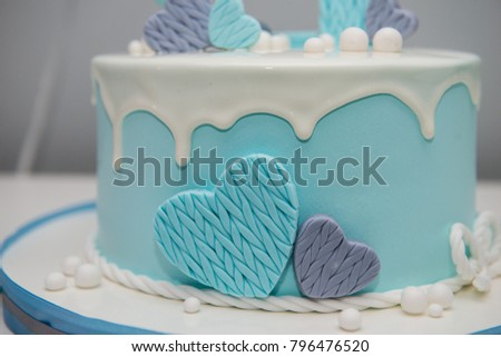 Colorful Decoration Of A First Year Birthday Cake Baby Smash For 1 Old Boy Winter With Snowman