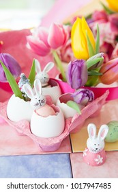 Colorful decorations and fresh flowers for a happy easter