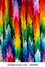 Colorful decorations made with paper closeup, Sendai Tanabata Festival, Japan