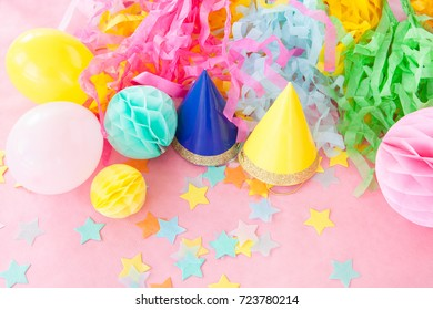Colorful decorations on pink for a party