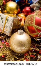 Colorful decorative Christmas ornaments for holidays