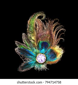 Colorful decorative element made with crystal, peacock feathers and glitters.
