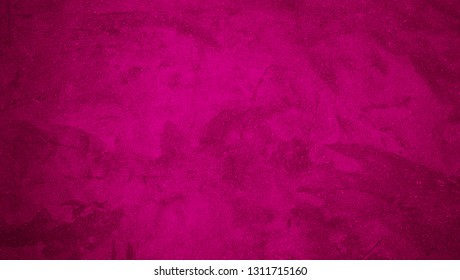 Colorful Decorative Pink Magenta color Background. Art Rough Abstract Painted plaster Wall Surface Texture. Bright Background With Space For design. Wide Angle Wallpaper