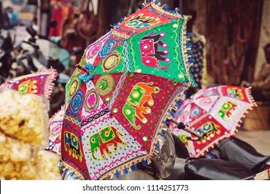 Colorful decorative umbrella at the street market