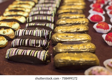 colorful delicious eclairs