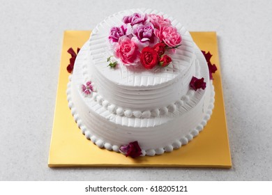 colorful and delicious flower cake on table