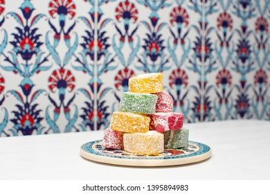 Colorful delicious tasty Traditional Turkish delight (aka Lokum). Middle Eastern dessert especially popular during the month of Ramadan (aka Ramazan)