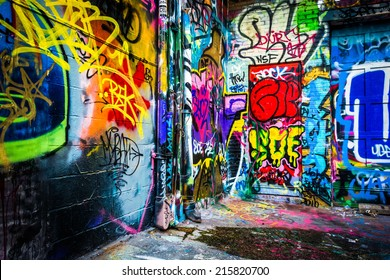 Colorful designs in the Graffiti Alley, Baltimore, Maryland.