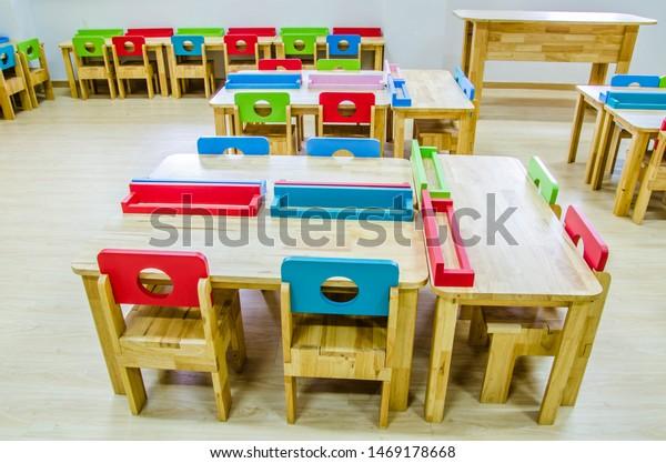 Fine Colorful Desk Chair Set Kindergarten Classroom Stock Image Inzonedesignstudio Interior Chair Design Inzonedesignstudiocom