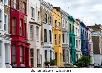 Colorful detached houses seen in Notting Hill, London, England
