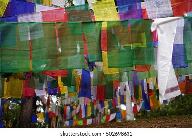 colorful   Dharma  flag  high  up  mountain  on  the  way  to  Taksang Dzong  in  Bhutan.
