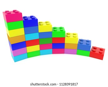 Colorful diagram  built from toy bricks on white.3d illustration