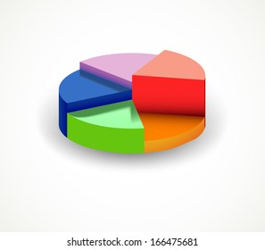 Colorful diagramme from segments. Vector
