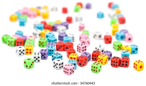 Colorful dices, isometric view, isolated on white