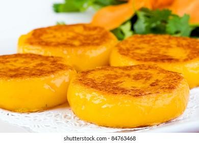 Colorful Dim Sum plate with flat squash dumplings