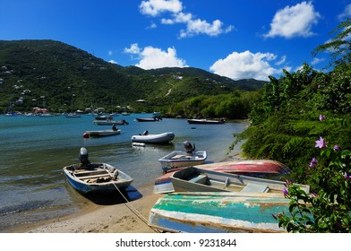 Colorful dinghies in Coral Bay, St. John, US Virgin Islands