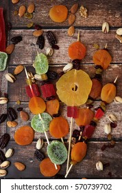 Colorful dired fruits for the Jewish holiday of Tu Bishvat