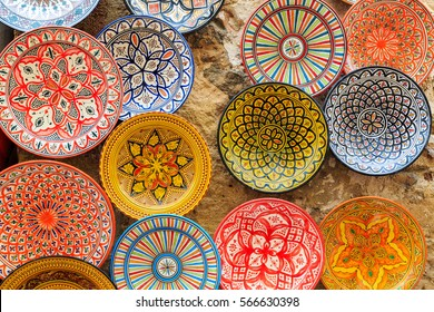 Colorful dish souvenirs for sale in a shop in Morocco
