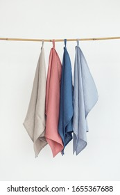 colorful dish towels on white backround. Natural linen towels.