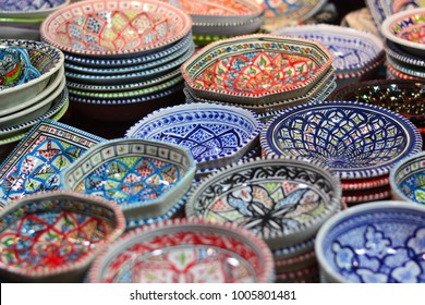 Colorful dishes in the eastern markets